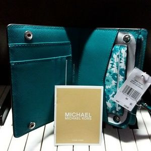 Michael more tile-blue card case wallet